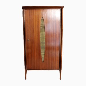 Walnut Cabinet with Brass Insert, 1950s