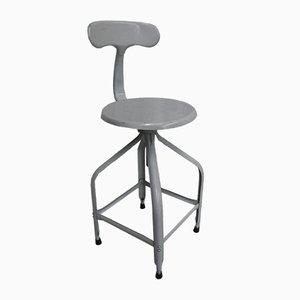 Taburete o silla de estudio industrial de acero de Chaises Nicolle