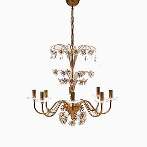 German Gilt Metal and Crystal Chandelier from Palwa, 1970s