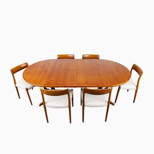 Large Danish Model 77 Dining Set by Niels Otto Møller for J.L. Møllers, 1950s
