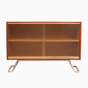 Sideboard with Wired Glass Sliding Doors, 1950s