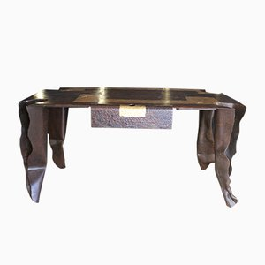 Metal Desk with Gold & Bronze Leaf by Jean Jacques Argueyrolles, 2001