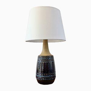Große dänische Vintage Keramik Lampe in Blau mit geometrischem Muster von Søholm