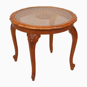 Table Basse Circulaire avec Cane & en Verre Top, France, 1950s