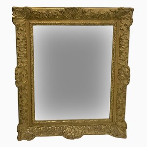 Antique French Wood and Stucco Mirror