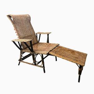 Französische Vintage Korbgeflecht & Bambus Chaise Lounge