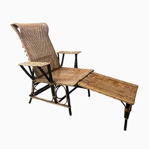 Vintage French Wicker & Bamboo Chaise Lounge