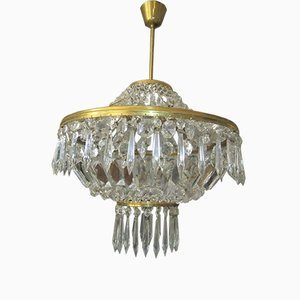 Brass Chandelier with Glass Crystals, 1970s