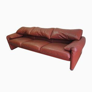 Maralunga 3-Seater Leather Sofa by Vico Magistretti for Cassina, 1980s