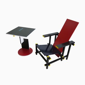 635 Chair & 634 Schroeder Side Table by Gerrit Thomas Rietveld for Cassina, 1986