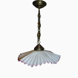 Art Nouveau Glass and Brass White and Pink Ceiling Lamp