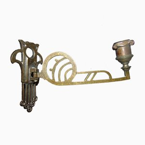 Art Nouveau Wall Mounted Brass Candleholder
