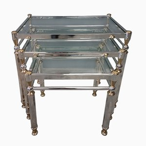Silvered & Gilt Brass Nesting Tables, 1980s, Set of 3