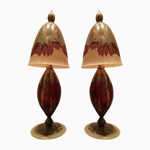 Lámparas de mesa vintage de vidrio pintado a mano de Vera Walther. Juego de 2