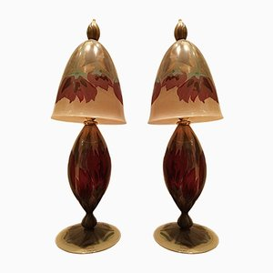 Vintage Hand-Painted Glass Table Lamps by Vera Walther, Set of 2