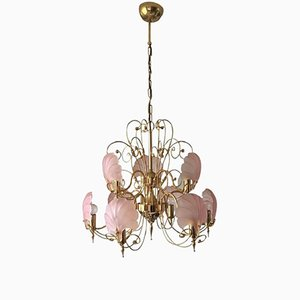 Vintage Gold & Pink Frosted Glass Shell Chandelier from Deknudt, 1970s