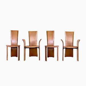 Cognacfarbene Leder Esszimmerstühle von Frag, 1980er, 4er Set
