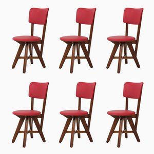 Mid-Century Modern French Oak Chairs, 1950s, Set of 6