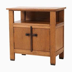 Mueble para el té holandés Escuela de la Haya Art Déco de roble de J.C.Le Cointre, años 20