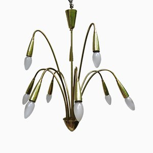 9-Lights Polished & Matt Brass Chandelier, 1950s