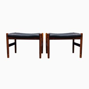 Rosewood & Leather Ottomans by Hugo Frandsen for Spøttrup, 1960s, Set of 2