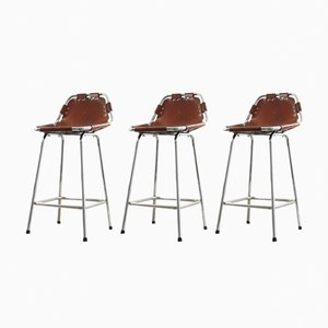 Les Arcs Bar Stools in Leather & Chrome by Charlotte Perriand, 1960s, Set of 3