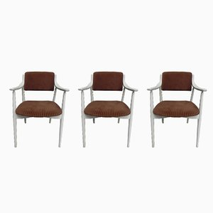 Vintage Ribbed Velvet Dining Chairs, Set of 3