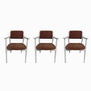 Vintage Samt Esszimmerstühle, 3er Set
