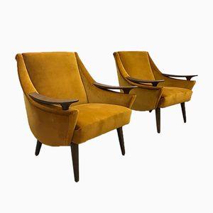 Mid-Century Modern Velvet Armchairs, Set of 2