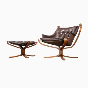 Falcon Chair & Ottoman by Sigurd Ressell for Vatne Møbler, 1980s