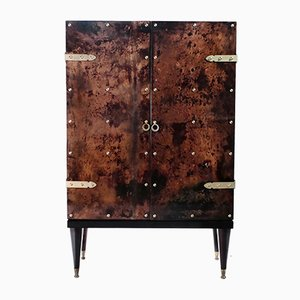 Bar Cabinet in Parchment and Brass by Aldo Tura, 1960s