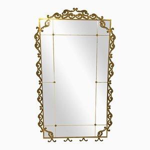 Espejo de suelo italiano vintage grande de latón