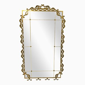 Large Vintage Italian Brass Floor-Standing Mirror