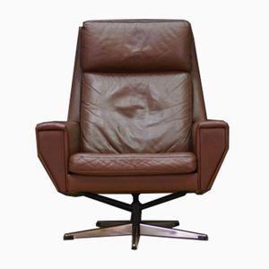 Vintage Danish Leather & Chrome Armchair