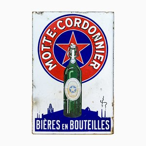Cartel de cerveza antiguo de doble cara esmaltado