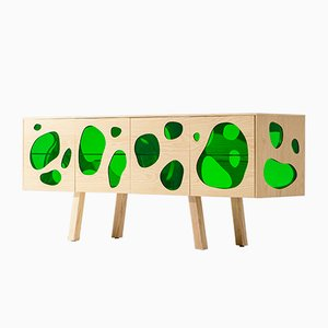 Aquário Cabinet I in Natural Ash & Green Glass by Campana Brothers for BD Barcelona