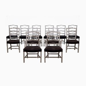 19th-Century Scandinavian Dining Chairs with Horsehair Upholstery, Set of 10