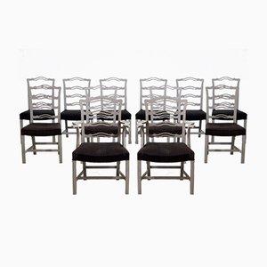 Chaises de Salle à Manger Scandinaves 19ème Siècle avec Rembourrage de Crin, Set de 10