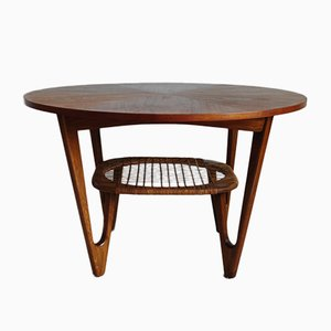 Mid-Century Teak Coffee Table with Caned Rack by Kurt Østervig