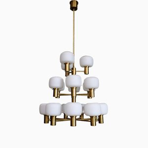Swedish Brass Chandelier from ASEA, 1950s