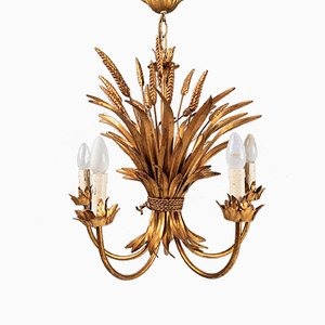 Florentine Golden Wheat Sheaf Chandelier, 1970s