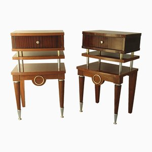 Vintage Rosewood & Brass Nightstands, Set of 2
