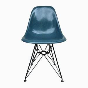 Chaise d'Appoint Bleue Grise Vintage avec Base Eiffel par Charles et Ray Eames pour Herman Miller