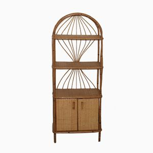 Vintage French Rattan Bookcase