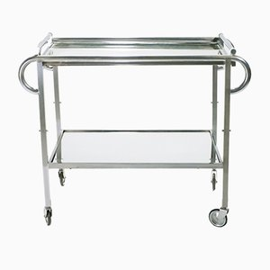 Mirrored Steel Trolley by Jacques Adnet, 1930s
