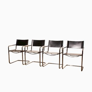 Black Leather Dining Chairs from Matteo Grassi, 1970s, Set of 4