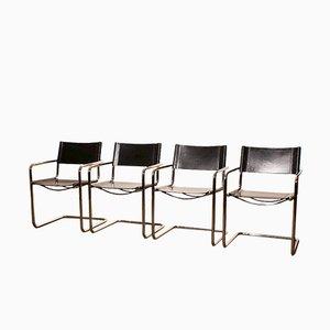 Chaises de Salle à Manger en Cuir Noir de Matteo Grassi, 1970s, Set de 4