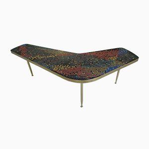 Mesa de centro de mosaico y latón, años 50