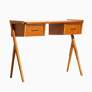 Vintage Swedish Teak & Beech Side Table or Desk