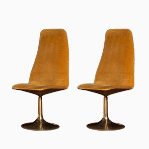 Golden Swivel Chairs by Johanson Design for Markaryd, 1970s, Set of 2